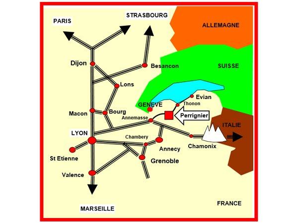 Cette image présente la carte de la situation géographique en France de l'entreprise : dans la zone industrielle de PERRIGNIER 74550 (France) BRASIER INDUSTRIE